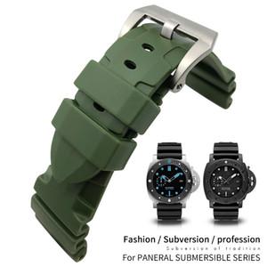 Strumenti di 24 millimetri 26 millimetri gomma di silicone verde Nero Blu cinturino per PAM in acciaio inox fibbia ad ardiglione (22 millimetri) Diving Cinturino Chiusura di distribuzione degli uomini liberi