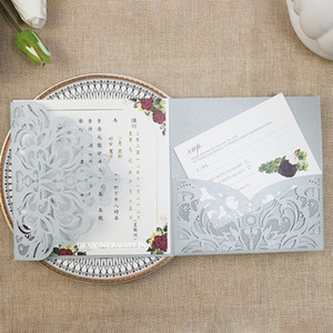 2020 Silver Shiny Pocket Wedding Invitations Customized Print Laser Cut Cards for Bridal Shower Marriage Quinceanera