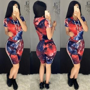 H652 tie-dyed printed hooded fashionable casual slim H652 tie-dyed printed hooded fashion sui leisure Suit fit sports suit for women
