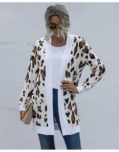 Otoño invierno de las mujeres del suéter de diseñador abrigos Cardigan delgado impreso leopardo capa ocasional OL estilo de ropa femenina