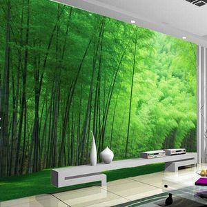 Nature Clearance Green Bamboo Wallpaper Living Room Wall Art Décor photo Fonds d'écran revêtements muraux 3d Papiers peints Dropshipping QtFN #