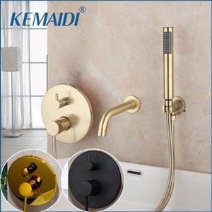 KEMAIDI Pinsel Goldene Badewanne Mixer Matte Black 2 Funktionen Badarmaturen Dusche Set zogener Hahn-Dusche-Satz W / Handspray