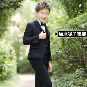 Boys Blazers Suit Kids Boy Suits for Weddings Jacket+Blouse+Tie+Pants 4 pieces set Children Costume Garcon Marriage Clothes K97G#