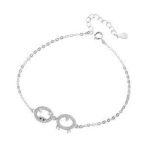 D S925 ювелирные изделия стерлингового серебра Pig браслет женские Регулируемое Jewelry свиньи Hollow зодиака аксессуары Ins сердце девушки