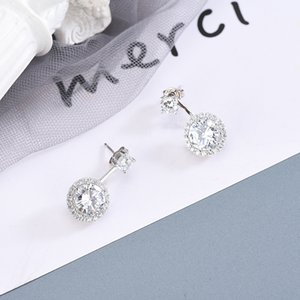 Return the World to Give You the Same Style Earrings S925 Sterling Silver Diamond-Set Elegant Personality Back-Mounted Earrings Female a Gen