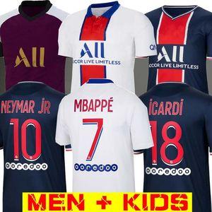 Maillots de kits de football 19 20 21 maillot de foot PSG 2019 2020 2021 hommes 4ème chemise MBAPPE ICARDI enfants mis pied de maillot enfants Hommes