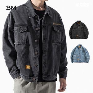 Fashion Harajuku Jeans Jacket Men Streetwear Outerwear Coat Korean Style Clothing Male High Quality Denim Jacket Bomber