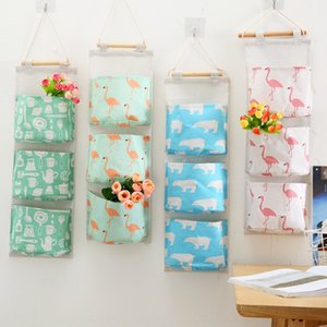 1Bylp Cotton and Wardrobe Cotton linen wall mount linen storage hanging bag household supplies wardrobe wall hanging dormitory storage multi
