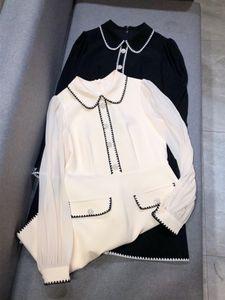 Milán pista de vestir 2020 albaricoque / vestido de Negro mujeres del diseñador Peter Pan Cristales Collar Botones vestidos para mujer 800419
