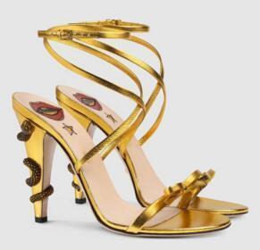 Leather Gold Summer Crisscross gladiatore sandali delle donne di metallo Snake alti talloni signore prua Scarpe Mary Jane cinturino alla caviglia Scarpe da sposa