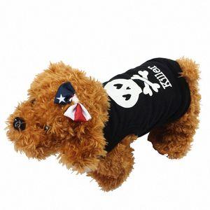 Yaz Pamuk Köpek Yelek Yaz Hayvan Yavru Köpek Kedi Giyim Gömlek Kapüşonlular Tshirts Kostümler Giyim Yelek XS-L WX20 #
