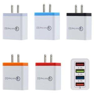 Carregador de parede QC3.0 4 portas USB 5V 3A rápida UE Plug EUA carregamento rápido viagem adaptador para Samsung S8 S9 Nota 8 9 10 Xiaomi