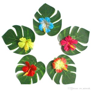 SF DHL Artificial Tropical Palm Leaves and Silk Hibiscus Flowers Party Decor Monstera Leaves Hawaiian Luau Jungle Beach Theme Party supplies