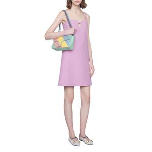 Couleur de la lumière Sac à bandoulière de chaîne en cuir Jaune Type Vert Bleu Rose Stripe Sac à main couture Mode féminine peut être porté entre un Sho