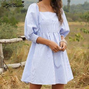 LZEQuella Kadınlar Çizgili Mini Elbise Bayanlar Gevşek Koreli Gömlek Elbise İlkbahar Yaz Yüksek Bel Steetwear NZ2022
