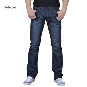 2020 Mens Jeans Classic Straight Denim Jeans with Zippers Pleated Slim Blue Black Jean Men's Scratched Long Pants Trousers