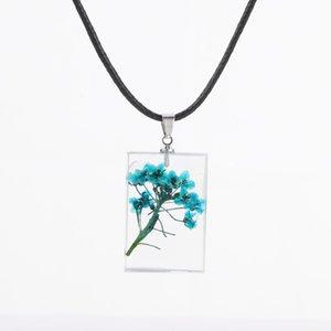 Новая мода Смола прозрачных ювелирные изделия Оригинальный ручная работа Природный Гипсофил Смешанное сухоцветов Ожерелье Подвески для женщин