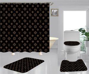 Stern-Druck-Duschvorhänge Sets Hipster Hochwertige Vierteilige Anzug Badezimmer Anti-lugt Anti-Rutsch-Deodorant Badematten Kostenloser Versand Hot