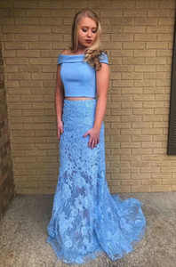 Blue Two Pieces Set Boat Neck Tops Mermaid Prom Dress robe de soiree Party Dresses Custom Made