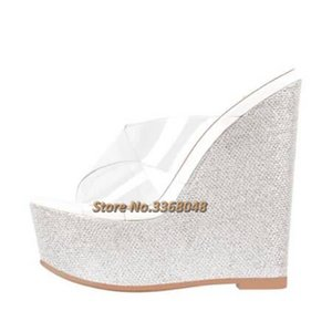 Zeppe Bling Bling Heel Shoes PVC trasparente Open Toe Slip On Platform Ladies Dress diapositive Open heel Croce Strap pantofole