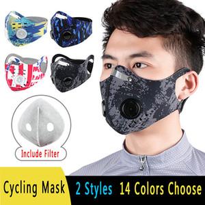 In bicicletta Maschera Doppia respirazione Valve Mask Outdoor antivento antipolvere Bib guida di viaggio Sports Goods sostituibile Filtro al carbone attivo