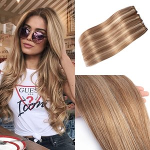 Piano color Human Hair Extensions #27 mixed with #613 Virgin Brazilian Hair Weft Slik Straight Highlights Hair weave 100g