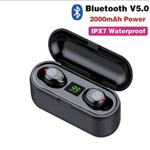 2000mAh F9 TWS drahtlose Kopfhörer Bluetooth V5.0 Earbuds Bluetooth-Kopfhörer LED-Anzeige Energien-Bank-Headset mit Mikrofon mit Kastenverpackung