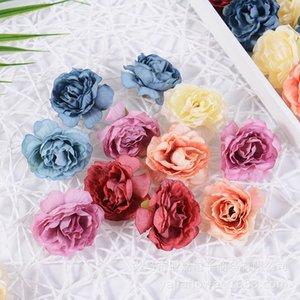 10pcs per lot DIY Silk Rose Flower Head For Home Decoration Handmade Artificial Simulation Rose Head Wreath