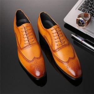 Men Oxford Shoes High Quality Men Leather Dress Shoe Fashion Business Brogue Men Shoes Mens Pointed Wedding Shoes Plus Size 38-48