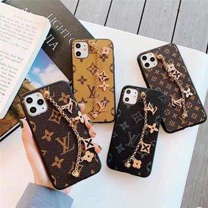 случаи роскоши дизайнер телефона для Iphone 8 плюс с цепным украшением для Iphone XR XS MAX 7Plus задней крышки PU кожи марка телефона крышки