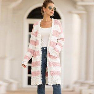 Luva das mulheres Coats Moda Casual solta Jaquetões listrado Patchwork Mulheres Designer Casacos Abrir Ponto Longo