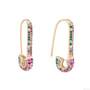 rainbow fashion women earring 2019 latest new design safety pin shape ear wire Gold plated trendy gorgeous women jewelry