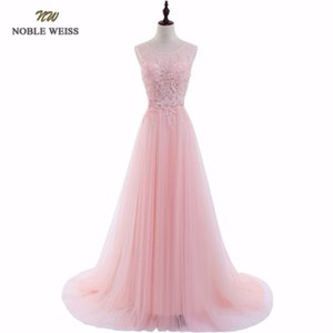 NOBLE WEISS Sexy O-Neck A-Line Sweep Train Tulle Lace Evening Dress Bare Back Cheap Prom Dresses Robe De Soiree Party Dress Y190710