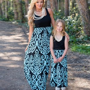 New Summer Mother Daughter Cotton Dress Sleeveless Mommy and Me Patchwork Dress for Girls Family Matching Outfits