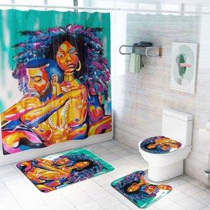 핫 새로운 이국적인 남성과 여성 방수 샤워 커튼 네 조각 화장실 매트 세트 욕실 파티션 커튼 사용자 정의