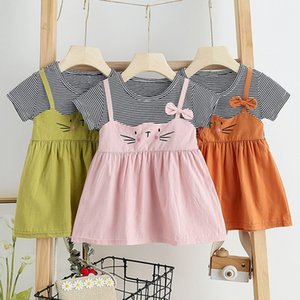 Baby-Kleid Neuer Sommer Striped Mädchen-Kind-Kleid-Baby Karikatur-Katze-Kleid Toddle Babys Kinder süße Outfits