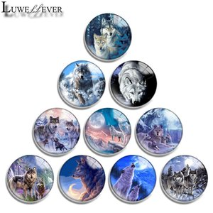 10mm 12mm 14mm 16mm 20mm 25mm 30mm 607 Wolf Round Glass Cabochon Jewelry Finding Fit 18mm Snap Button Charm Bracelet Necklace