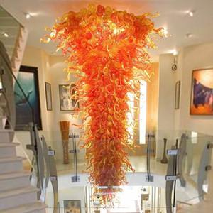 Lampade Rustico arancione Ombra della catena della mano in vetro soffiato Lampadario Illuminazione 160 '' Lampade a sospensione a LED di grandi dimensioni personalizzati braccia per la decorazione della casa-L