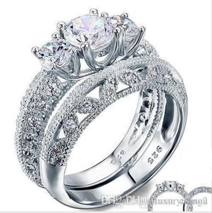 Vintage Style Victorian Art Deco 1.5 Ct Created Diamond Solid Sterling 925 Silver 2-Pcs Wedding Engagement Ring Set