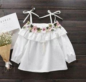 Kids Girls Blouse 2019 Spring Children Slash Neck Flower Top Shirts 6 8 9 10 11 12 Years Girls White Princess Blouses v9yj#