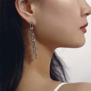 10pcs Lot Europe Simple Single Geometric Earring U Shaped Beaded Dangle Chain For Women Party Gift Stud Earrings Jewelry Accessories