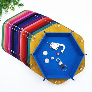 Hexagonal Desktop Storage Box Foldable Dice Plate Tray 14 Color PU Leather flannel Storage Tary Kitchen Table Six Corners