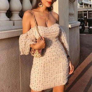 Women elegant slim fit V neck mini dress polka dots short puff sleeve back zipper female 2019 casual stylish sheath dresses CX200709