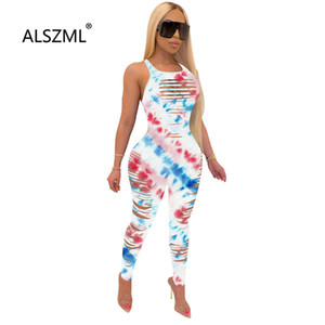 2020 New special design art print women's long jumpsuit summer casual beach style lady hole vintage romper overalls