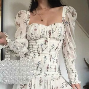 High Quality 2020 Holiday Vocation Floral Print Puff Sleeve Ruffle Mini Dress