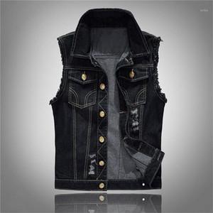 Denim Jeans Yelek Kolsuz Erkek Kovboy Dış Mekan Homme ceketler Tasarımcı Erkekler Jeans Ceket Yelek Erkek Artı boyutu Siyah
