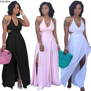 2020 autumn women halter v-neck open back high side split maxi midi bodycon dress night club party long dresses vestidos GLS3649
