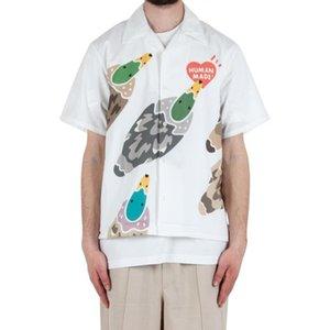 20ss DUCK ALOHA heart Maglietta a maniche corte Anatra camicia di modo di coppia maschile e femminile High Street shirt Confortevole HFXHTX324