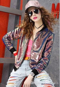 Women autumn winter coat Top Quality fashion Gorgeous sequins Ladies OL Boutique woven Sexy long-sleeved stand-up collar baseball uniform