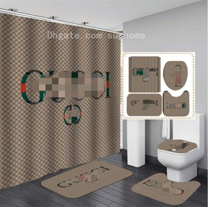 Fashion Printing Custom-made Shower Curtain Waterproof Multi-function Curtain Toilet Seat Covers Set 3piece Non-slip Mat Bathroom Accessorie
